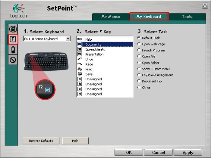 Customizing My EX 110 Keyboard With Logitech Software SetPoint