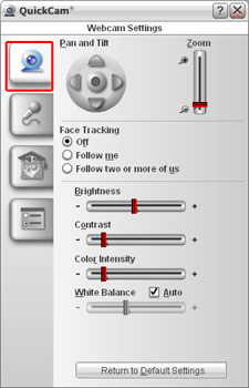 Adjusting camera, audio, and application settings in QuickCam 10 and