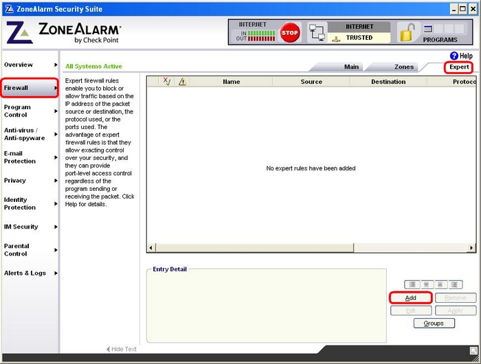 Manually configuring ZoneAlarm Internet Security 2008 to ...