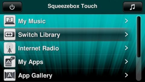 SqueezeboxTouch_HomeMenuShowingSwitchLibrary.jpg